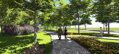 Công viên tràn ngập màu xanh tại Golden City An Giang